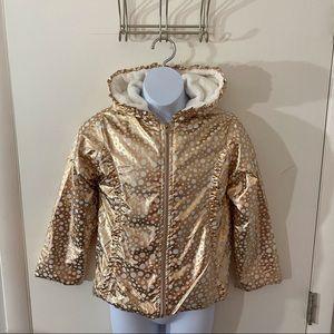 New Polka Dot Stars Rose Gold Girls Coat Jacket 6X